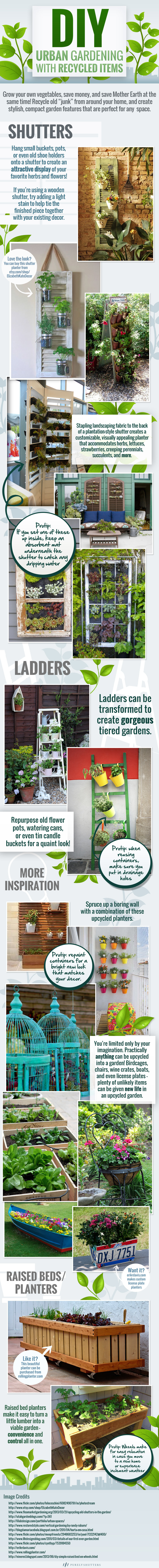 Infographic: DIY Urban Gardening with Recycled Items #infographic
