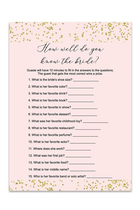Blush and Confetti How Well Do You Know The Bride Game   Love