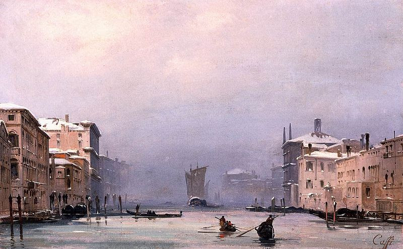 'Snow and Fog on the Grand Canal', by Ippolito Caffi