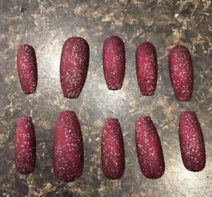 maroon matte acrylic nails coffin  different nail designs
