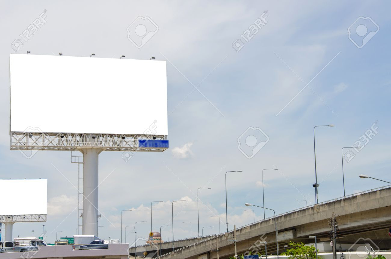 Large Blank Billboard On Road With City View Background Stock ...