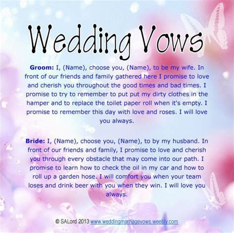 Unique Wedding Vows   Funny Wedding Marriage Vows   Silly
