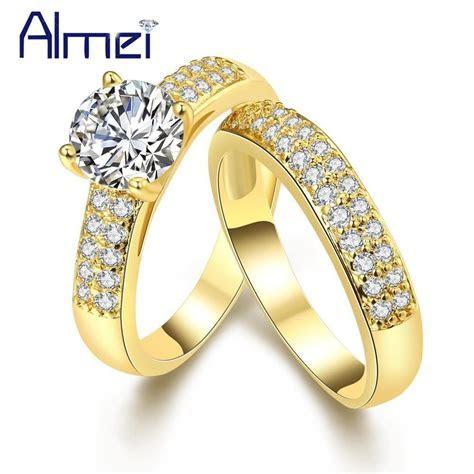Gold Color Bijoux Zircon Wedding Kunzite Pair Of Rings