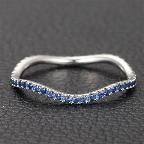 Ceylon Blue Sapphires Micro Pave Curved 14K White Gold
