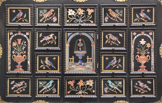 Cabinet, about 1650, using panels of 1600-50, cabinet-Northern Europe, panels-Florence-Italy