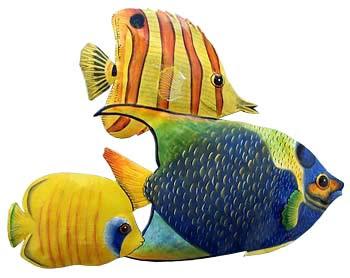 Three Hand Painted Metal Tropical Fish Wall Decor Pool Side Decor Caribbean Decor 11 X 15