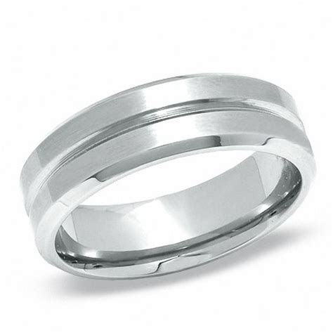 Men's Stainless Steel Lined Wedding Band   Size 12   Mens