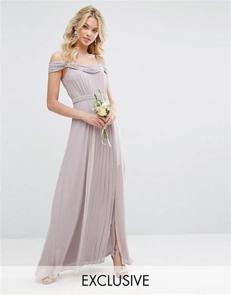 TFNC   TFNC WEDDING Cold Shoulder Embellished Maxi Dress