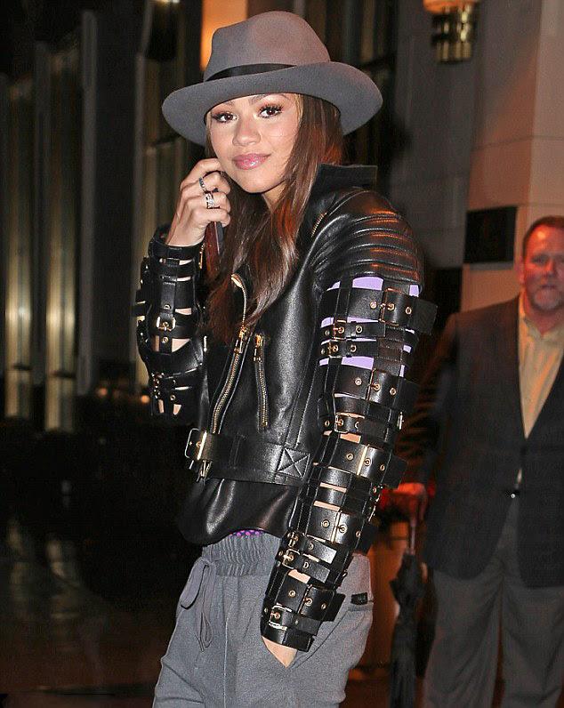 2-Zendaya-Coleman's-New-York-City-Fausto-Puglisi-Straps-and-Buckles-Leather-Jacket
