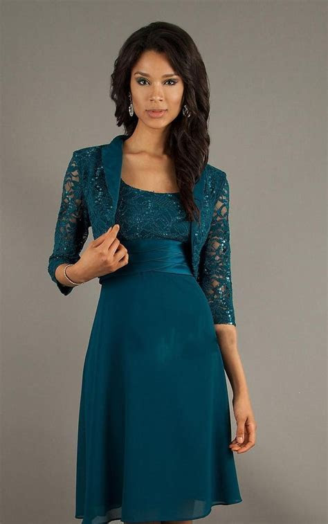 HL SD521 Real Picture Show Formal Teal Lace Chiffon Knee