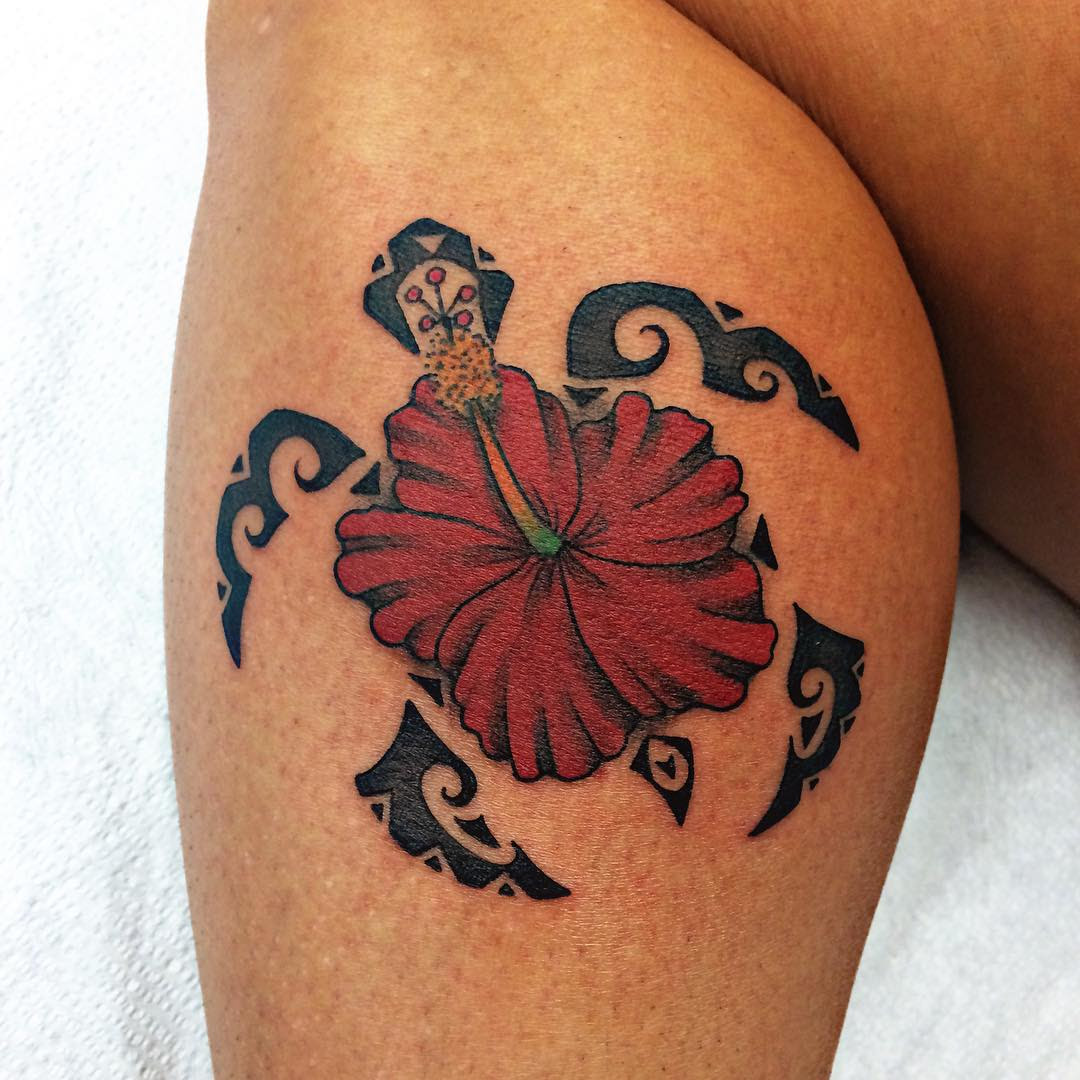 5158d33a8a077 Tribal Tatto: Tribal Turtle Tattoo With Hibiscus