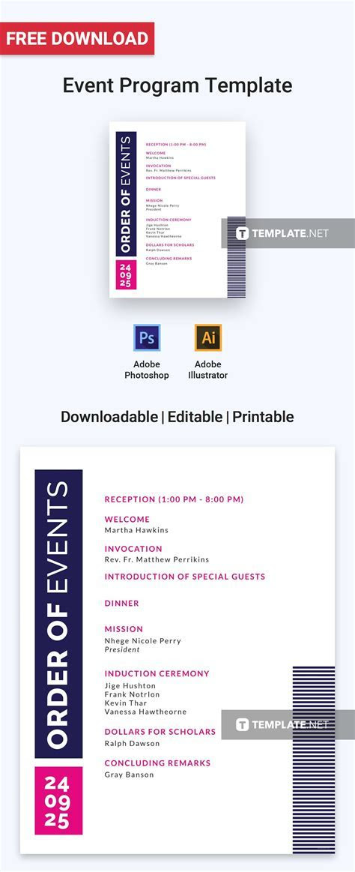 Free Event Program Invitation   Program Templates