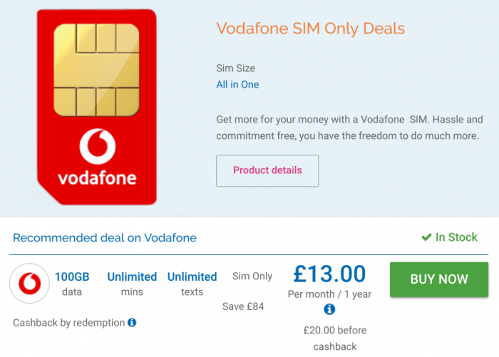 Coolsmartphone   Deal – Vodafone SIM-only 100GB Deal ~ Official