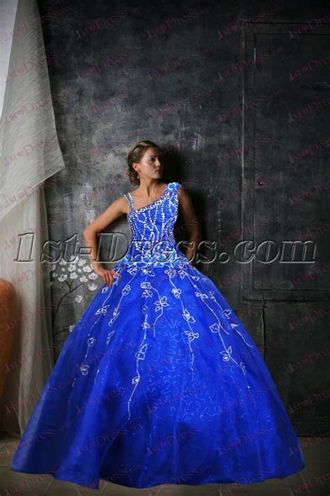 Royal Blue One Shoulder Quinceanera Dress 2017:1st dress.com