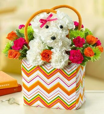 perrito hecho con flores