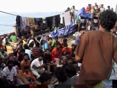 A boat laden with Sri Lankan asylum seekers trying to reach Australia...
