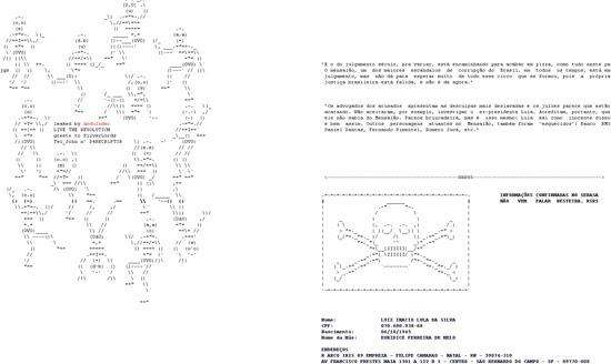 Reprodução do site com os dados pessoas do ex-presidente Lula e de outros políticos