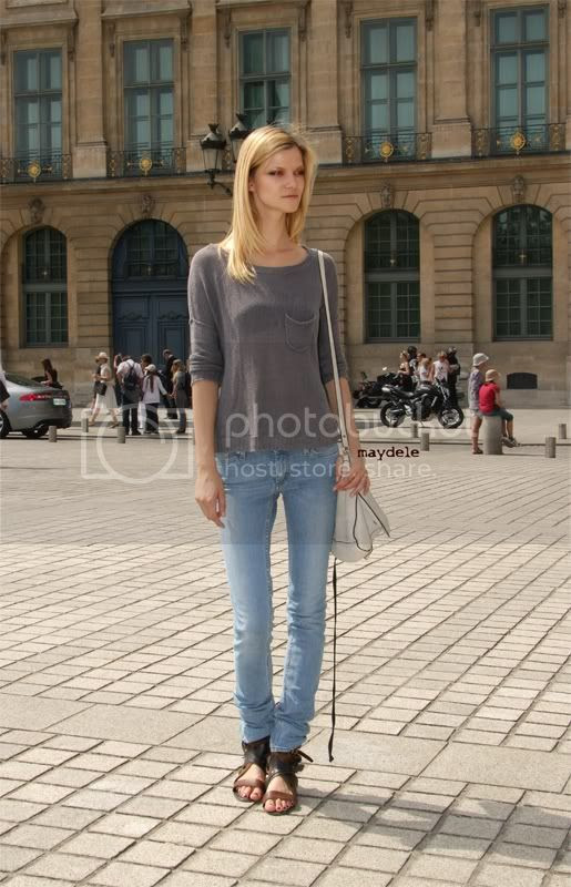 Kasia Struss wearing Chloé spring summer 2010 canvas and leather sandals