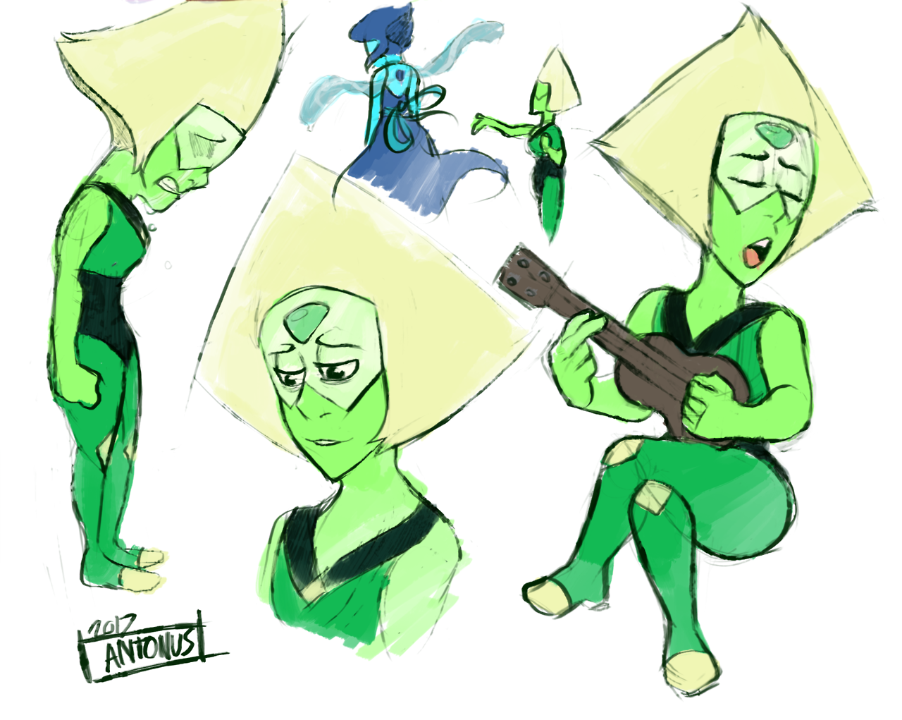 """ ♬ ♪ I'd rather be Free, Free, Free… ♪ ♫ "" Still not convinced that song is about Lapis because the true gem who's trapped is Peridot. Had to do some sketches after that Steven bomb."
