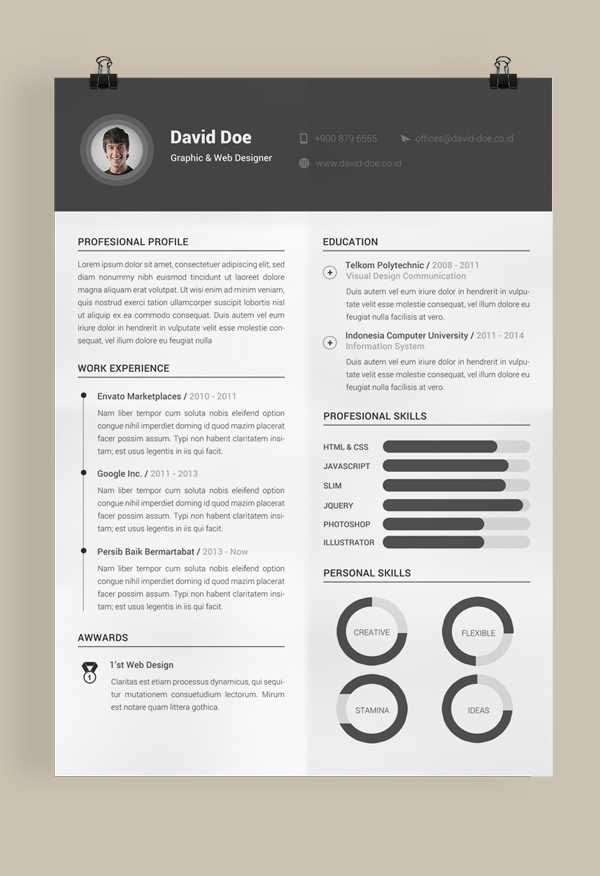 10 Free Resume-CV Templates Designs For Creative, Media, IT, Web and Graphic Designers 2015