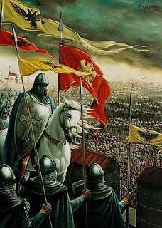 Soldados cristianos antes de la batalla