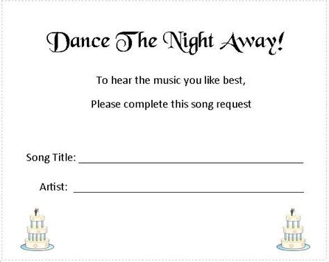 Wedding Music Song Request Cards   Wedding Cake Design