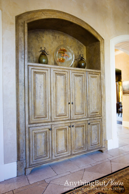 Arched Built-in Television Cabinet - living room - houston - by ...