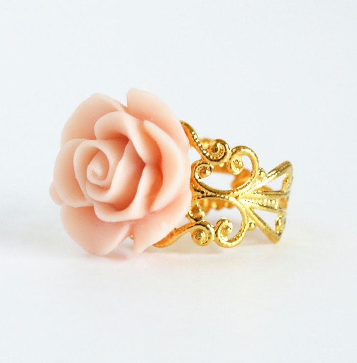 Pink Flower Ring - Gold Plated Adjustable Filigree Ring With Baby Pink Flower