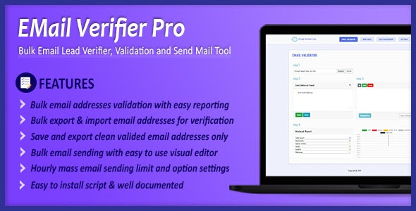 Email Verifier Pro v1.0.0 - Bulk Email Addresses Validation, Mail Sender & Email Lead Management Tool