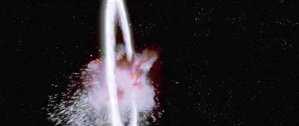 A revamped version of the Death Star exploding in the STAR WARS: SPECIAL EDITION.