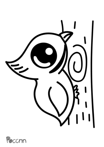 Cute Woodpecker Super Coloring