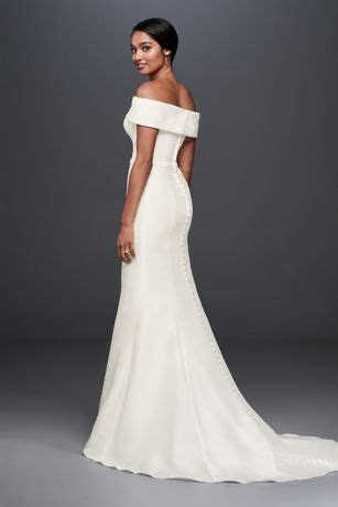 Off the Shoulder Mikado Trumpet Wedding Dress   David's Bridal