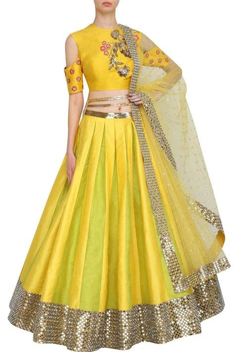 Yellow lehenga with cold shoulder blouse   Lehenga designs