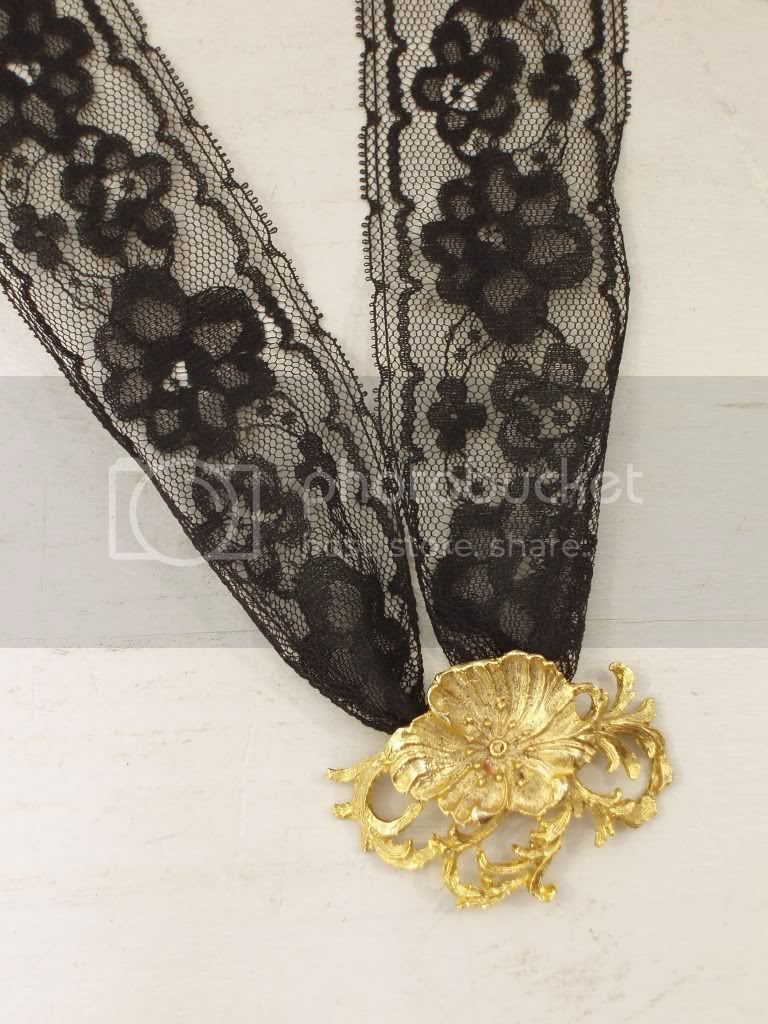 black and gold shoe buckle lace necklace