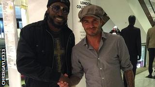 Chris Gayle and David Beckham meet in London