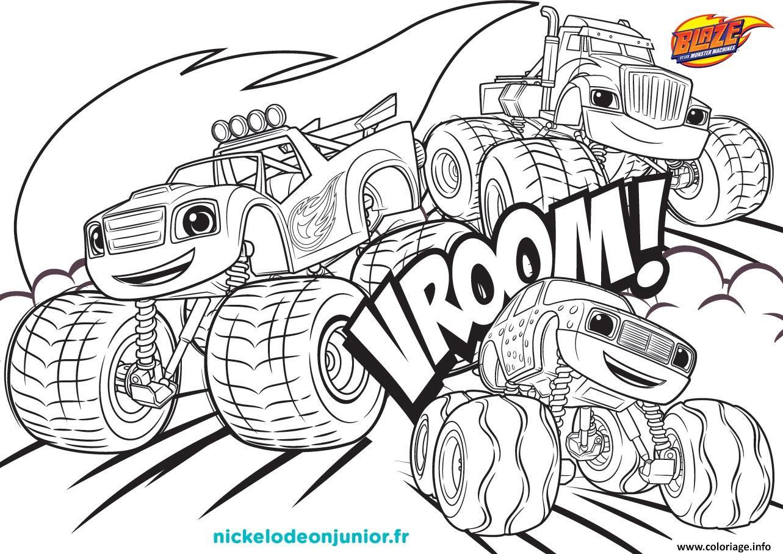 Coloriage Blaze Et Les Monsters Machines Vroom Vroom Dessin  Imprimer
