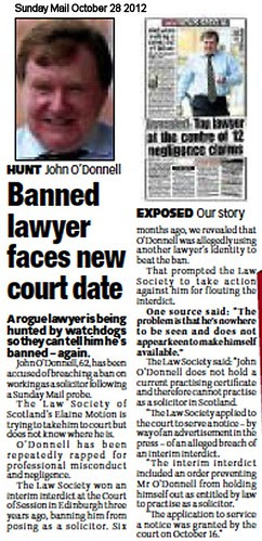 Banned lawyer faces new court date - Sunday Mail Oct 28 2012