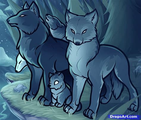 draw  wolf pack pack  wolves step  step