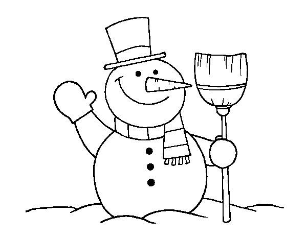 Dibujo De Muñeco De Nieve Con Escoba Pintado Por Deni21313 En