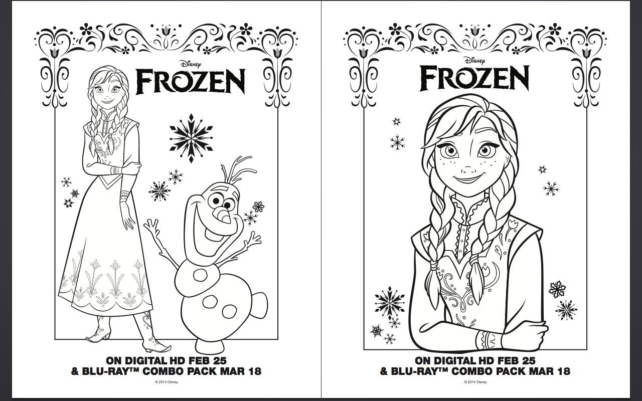 Free FROZEN Coloring Pages and Activity Sheet Printables