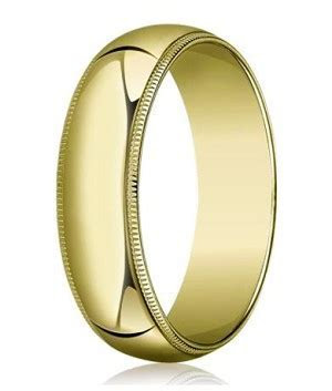 10K Yellow Gold Wedding Band   8 mm Traditional Fit Milgrain