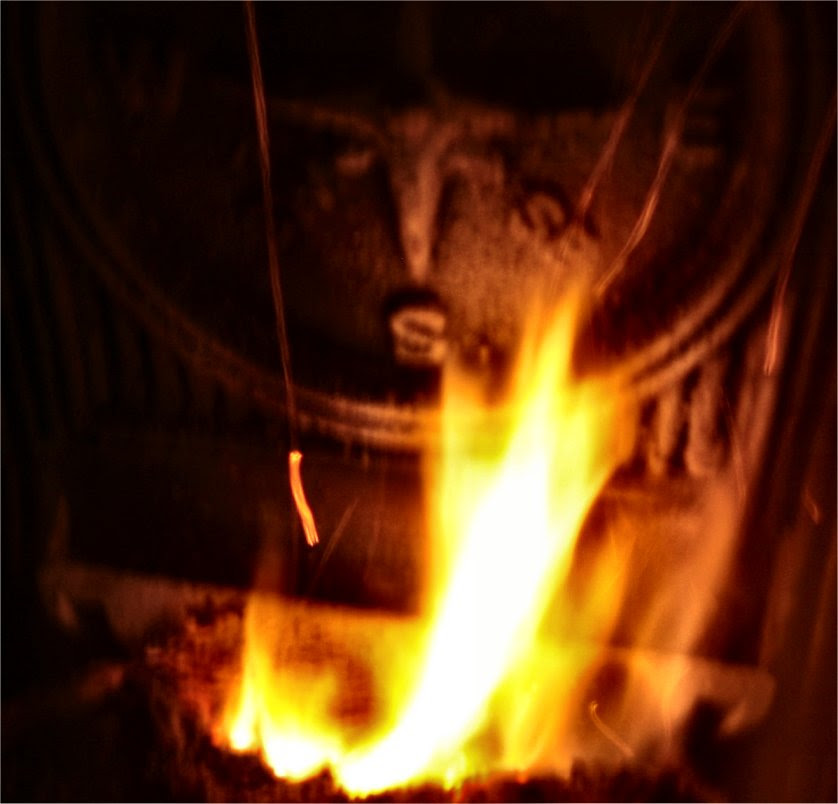 Molten Compass - fire from a pellet stove - soul-amp.com