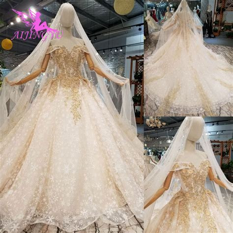 AIJINGYU Glitter Wedding Dress Gowns With Sleeves Exotic