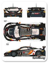Calcas 1/24 Racing Decals 43 - McLaren MP4-12C ALD Automotive - Nº 5 - David Dermont + Koen Wauters + Frederic Vervisch + Gregory Guilvert - 24 Horas de SPA 2013 para kits de Fujimi FJ125633, FJ125558 y FJ12587