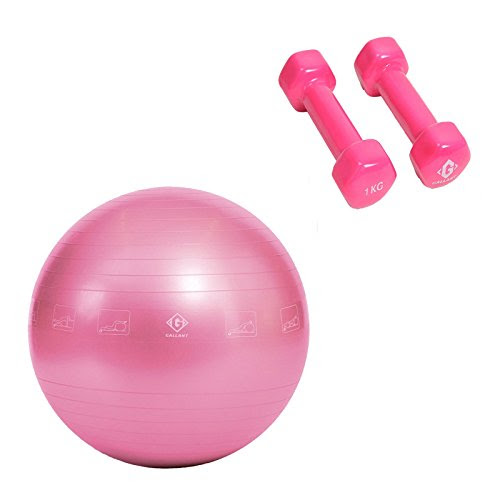 Vinyl Dumbbell Weights 2kg Pink Fitness Exercise Gym Ball Anti Brust Swiss Ball Home Fitness Ladies Best Selling Gift Set Only £15.99