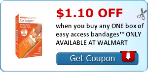 $1.10 off when you buy any ONE (1) box of easy access bandages™ ONLY AVAILABLE AT WALMART