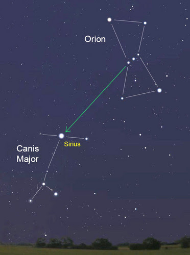 Three stars in Orion's Belt and Sirius