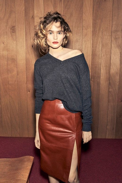 Le Fashion Blog Fall Style Ganni 2016 Resort Collection Tousled Wavy Hair Berry Lips Grey Off The Shoulder Swearer Brown Leather Slit Skirt Via WWD