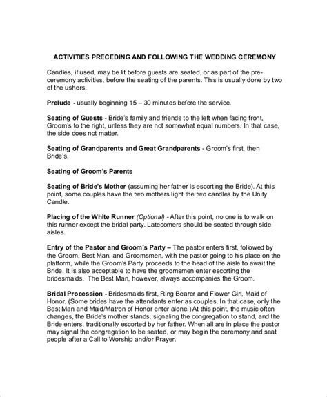 Wedding Ceremony Outline   Template Business