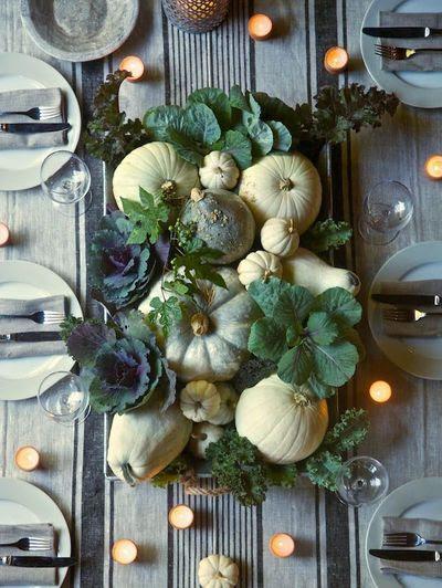 gourds and pumpkins centerpiece